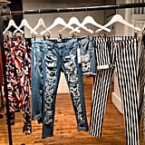 We caught a glimpse of the Hudson jeans collection — how amazing is that striped pair?