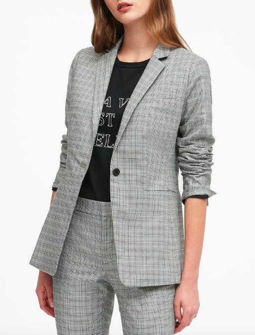 Long & Lean-Fit Plaid Blazer
