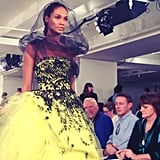 A black veil couldn't hide Joan Smalls's radiance at Oscar de la Renta. Source: Instagram user bat_gio