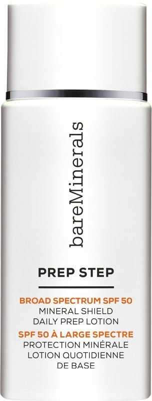 BareMinerals Prep Step Broad Spectrum SPF 50 Mineral Shield Daily Prep Lotion ($30) ranks well on EWG's 2017 sunscreen guide. Titanium dioxide is the active ingredient.