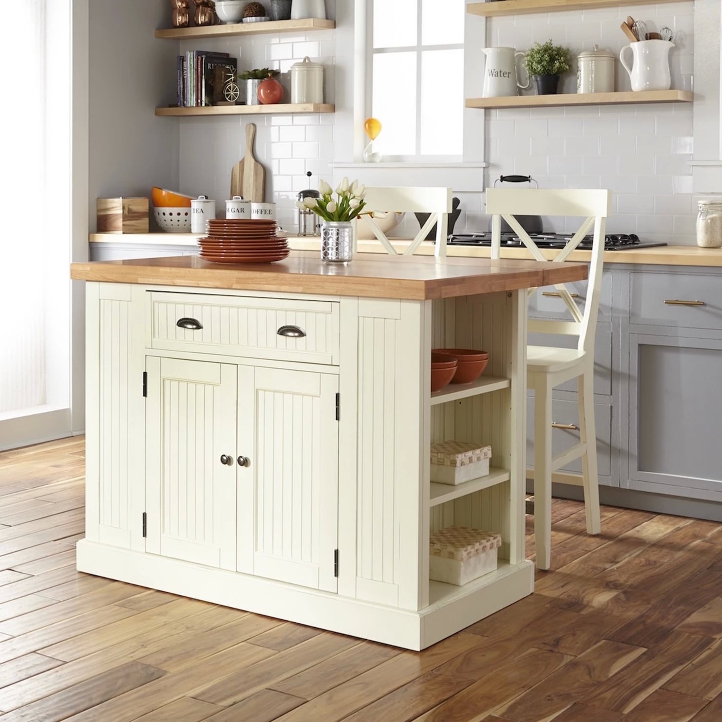 Nantucket Solid Wood Top Kitchen Island and Counter Stools ...