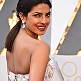 PS: What is the key step in a reader DIYing Priyanka's Oscars ponytail at home? C: A really good blow dry is the key to this look. Start with a clean base using the right products, then be sure to really focus on a good blow dry and flat iron the ends. The S Factor by TIGI Stunning Volume Shampoo & Conditioner really created a nice, healthy, shiny base. PS: What is your best advice for wearing a ponytail with a gown and making it look glam and not sporty? C: Keep it mid or low positioning on the head to make it look glam rather than sporty. The higher you go, the sportier it gets. A low positioning is the most elegant. PS: Priyanka has super thick hair. What are your styling tips for women with thick hair? C: Women with thicker hair should keep their hair clean because it tends to get oily and product builds up and weighs it down even more. Washing it with a really good shampoo and conditioner is key. Thick hair can get really messy if it gets frizzy; if you use a good conditioner and anti-frizz product, it keeps it healthy and beautiful.