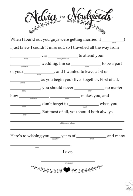 graphic relating to Wedding Mad Libs Printable identified as Tips in direction of Newlyweds Free of charge Printable Wedding day Ridiculous Libs