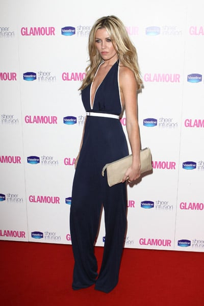 A plunge neck jumpsuit keeps Abbey on trend at the Glamour Awards.