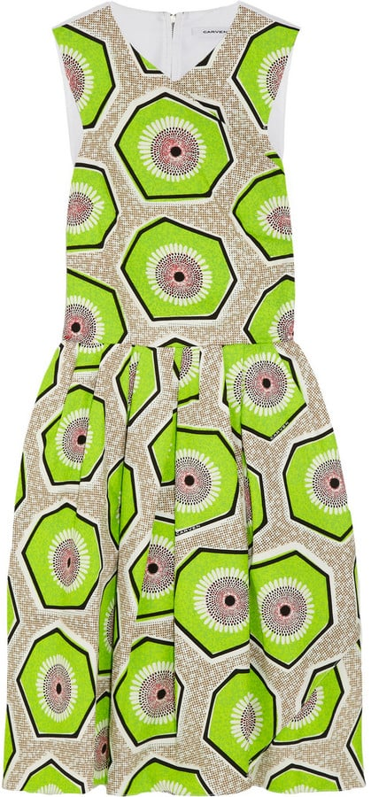 Carven green printed cotton dress (£570)