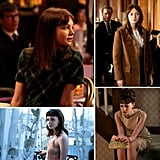 More examples of Jenny's style transformation: classic schoolgirl-chic in a plaid dress, a flirty ruffled blouse under a utility-style wool toggle coat, a lacy slip during her Paris rendezvous (we love the look of one worn under a slouchy sweater), and a glamorous Jackie O-inspired cocktail look via a gold jacquard shift dress and beaded clutch.