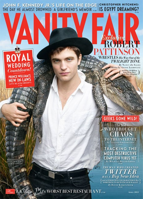 "Robert Pattinson is on the April cover of Vanity Fair, and the magazine just released the cover with some teaser quotes from the article. He's starting to promote Water For Elephants, and his director in that movie spoke about Rob's connection with a certain costar, the elephant Tai, while Reese Witherspoon recounted another story about his crazy fans. Robert also spoke about Kristen Stewart, Twilight, his favourite candy, and why he respects Charlie Sheen. Here are highlights:  On his relationship with Kristen: ""It's just very traumatic. When [Twilight] is over, the media will lose interest [in the relationship]. There'll be nothing to say. It won't fit into a headline anymore. It won't fit into a template."" On Kristen: ""Kristen is very focused on being an actress. I mean, that's what she is—she's an actress. Whereas I—I just don't really know. She's cool. Even before I knew her I thought she was a really good actress. Like, I saw Into the Wild, and I thought she was really good in that. I still think there are very few girls in her class that are as good as she is."" On Tai the elephant: ""She was the best actor I ever worked with in my life. I cried when the elephant was wrapped. I never cried when anyone else was wrapped."" On being anonymous during his recent road trip: ""No one recognized me or anything. And I was like, Ah, this is really cool, sitting there eating chicken wings and stuff. They always find out somehow."" On his downtime: ""I've just kind of stopped doing everything. I never change the channel in my trailer. I just watch reruns of House of Payne and Two and a Half Men. I love Cops—I think it's my favorite TV show… God,"" he says, laughing, ""I sound like such a loser."" On Twilight: ""There's nothing you can do about it. That's the way it is. But it is weird being part of that, kind of representing something you don't particularly like … God. I just really headbutted it. This thing with everyone knowing you … it's weird, because people have this one-sided relationship where they look at your picture and feel they know you more than someone they actually know. I don't really know myself that well. I can't really understand it even now. It does have an angle which is attached to something quite primal in girls. I guess people want it to define them, like 'I'm a Twilight fan.'… I think people really just like being part of a crowd. There's something just tremendously exciting about hyping yourself up to that level."" On Charlie Sheen: ""I like crazy people who don't give a f*ck."" Reese Witherspoon on Rob mania: ""I'd never seen anything like that, ever. They were waiting at five o'clock in the morning to see him. Young girls. Where are their mothers? I hear so many horror stories about young actors with attitude showing up late or hung over, and there wasn't any of that. He worked so hard."" Director Francis Lawrence on Rob and Tai: ""I wouldn't be surprised if Rob says the reason he took the movie was because of the elephant. He really fell in love."""