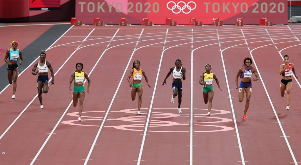 """Gabby Thomas, aka Wonder Woman, has pulled off another superhero-esque feat. Just over a month after the sprinter put up the third-fastest time ever at the US Olympic Trials, Thomas secured a bronze medal at the 2021 Olympics in Tokyo, taking third behind Jamaica's Elaine Thompson-Herah and Christine Mboma of Namibia. Thompson-Herah's incredible time of 21.53 was good enough for a national record, and is now the second-fastest time in history behind the record set by Florence Griffith-Joyner (aka Flo-Jo) in 1988. Mboma, who edged Thomas in both the prelims and semifinals, put up a 21.81. It was, all in all, an electric Olympic final, as Thomas took home her first medal (21.87 seconds) and Thompson-Herah became the first woman to grab a """"double-double"""" in track and field: winning a gold medal in the same event in consecutive Olympics (Rio and Tokyo). """"I really had to pull it out to win the 200 meter,"""" said Thompson-Herah, who also won gold in the 100m. """"I can't believe it."""" Ahead, see a clip of the last 100 meters of the race and photos of Thompson-Herah, Mboma, and Thomas crossing the finish line. Congrats to the medalists!      Related:                                                                                                           Simone Biles's Return to Olympic Competition Won Her Beam Bronze — and a Golden Moment"""