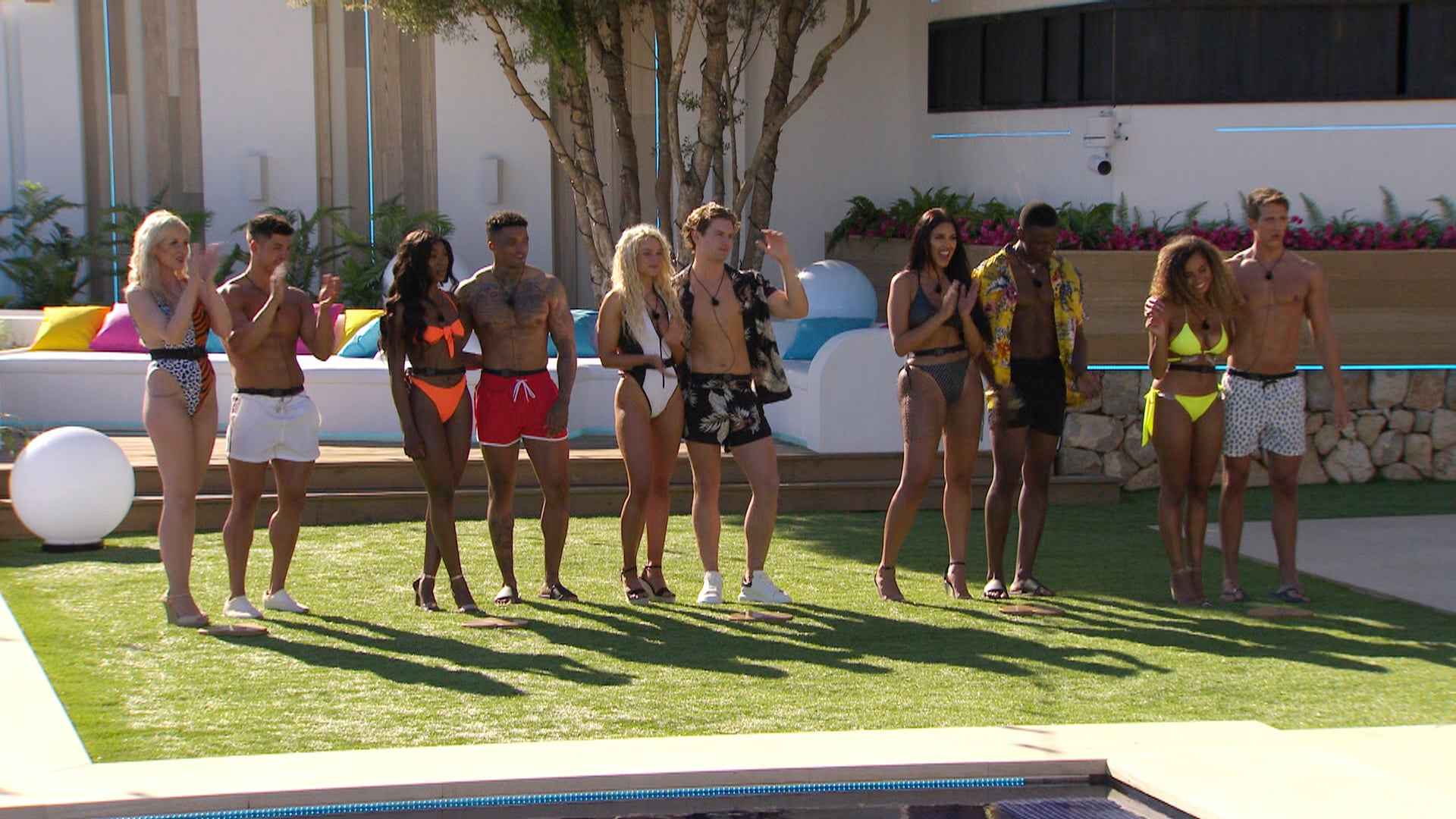 From ITV StudiosLove Island: SR5: Ep1 on ITV2Pictured: The couples: Amy and Anton, Yewande and Michael, Lucie and Joe, Anna and Sherif and Amber and Callum.This photograph is (C) ITV Plc and can only be reproduced for editorial purposes directly in connection with the programme or event mentioned above, or ITV plc. Once made available by ITV plc Picture Desk, this photograph can be reproduced once only up until the transmission [TX] date and no reproduction fee will be charged. Any subsequent usage may incur a fee. This photograph must not be manipulated [excluding basic cropping] in a manner which alters the visual appearance of the person photographed deemed detrimental or inappropriate by ITV plc Picture Desk.  This photograph must not be syndicated to any other company, publication or website, or permanently archived, without the express written permission of ITV Picture Desk. Full Terms and conditions are available on the website www.itv.com/presscentre/itvpictures/termsFor further information please contact:james.hilder@itv.com / 0207 157 3052