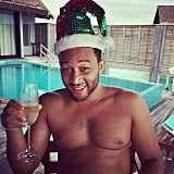 John Legend celebrated the holiday poolside in the Maldives.
