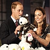 Prince William and Kate Middleton with a stuffed animal at ServiceNation: Mission Serve event in LA.