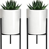 Mkono Modern Planter Small Ceramic Plant Pot with Metal Stand