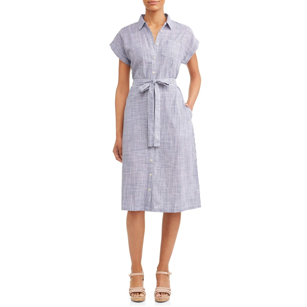 Timed and Tru Belted Midi Shirt Dress With Pocket