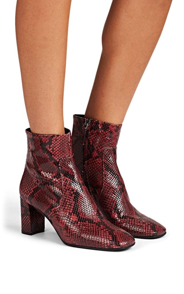Barneys New York Square-Toe Snakeskin Ankle Boots