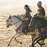 Kristen Stewart wore her hair back for the riding scene.