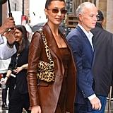 Bella Hadid Carrying a Leopard Bag