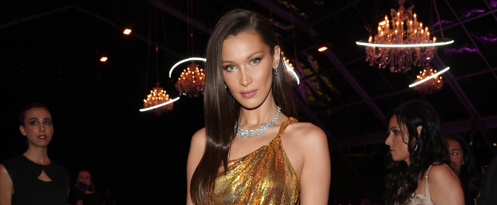 Bella Hadid Gold Versace Dress in Italy