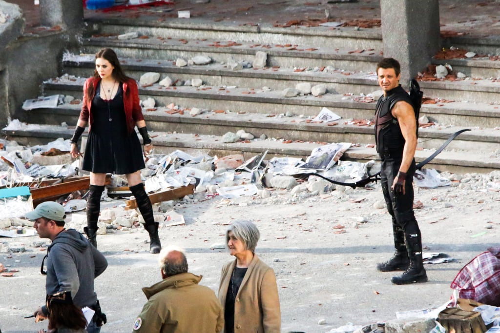 Elizabeth Olsen and Jeremy Renner on the set of Avengers: Age of Ultron, in Italy.