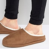 ASOS Slippers With Faux Shearling Lining