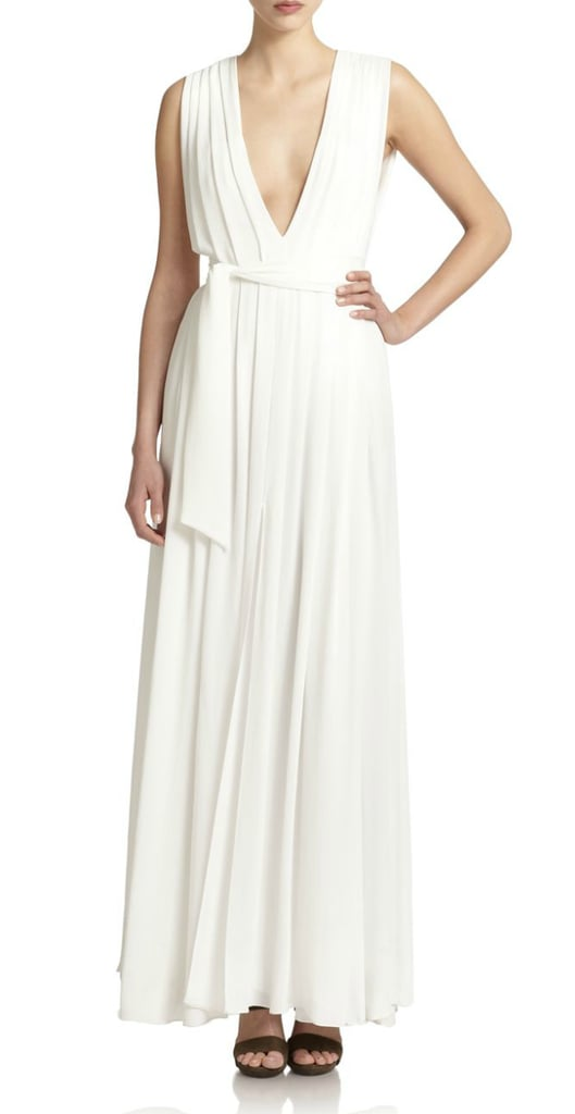 L'AGENCE Deep V-Neck Maxi Dress