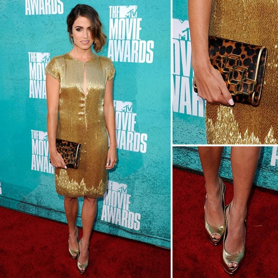 Pictures of Nikki Reid in Gold Randi Rahm Dress on the red carpet at the 2012 MTV Movie Awards: Rate it or Hate it?