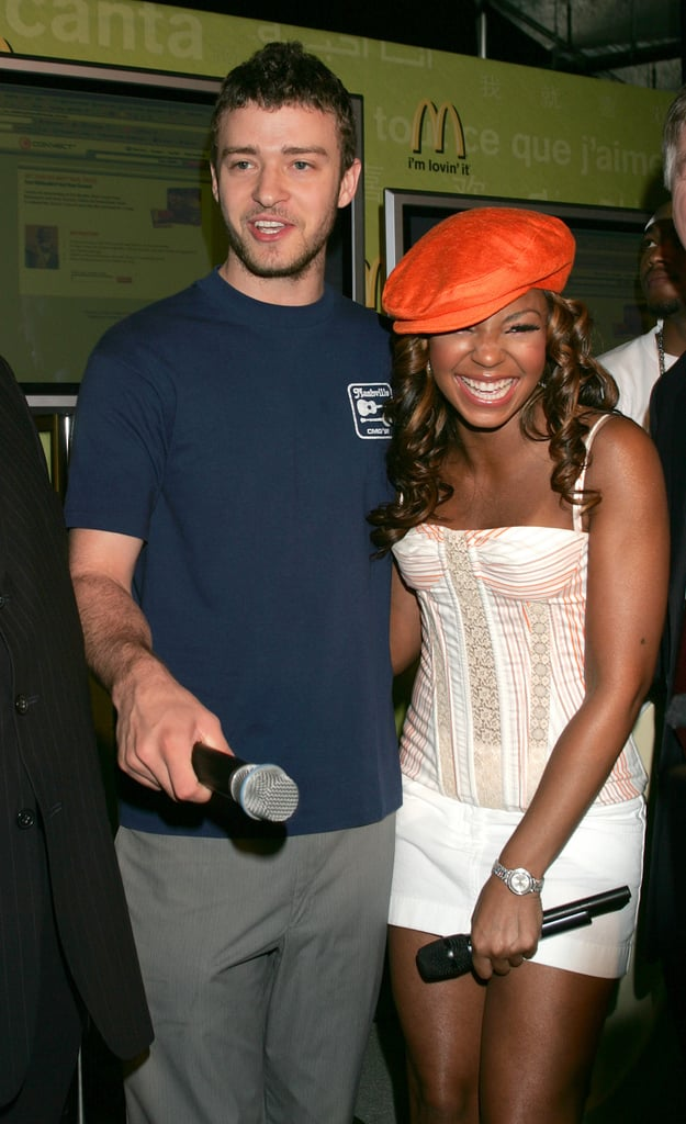 """McDonald's ambassadors Justin and Ashanti paired up to announce the """"I'm Loving It"""" campaign in June 2004."""