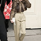 After the Show, Kendall Was Spotted in High-Waisted Trousers and a Cropped Furry Coat