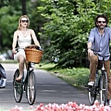 Rachel McAdams and Michael Sheen pedaled together.
