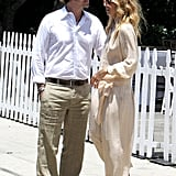 Rodger Berman and Rachel Zoe wore complimentary neutral tones for their day date.