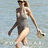Naomi Watts wore a leopard one-piece.