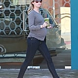 Pregnant Emily Blunt got a green juice on Tuesday in LA.
