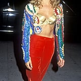 She was always comfortable baring her (slender) belly, For The Boys premiere, 1991.