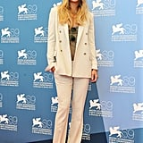 Kate's white suit — with a neutral-toned tank underneath — gave her a cool menswear-inspired vibe at The Reluctant Fundamentalist photocall. True to form, the starlet opted to wear a wide-leg silhouette with a less structured blazer shape on top.