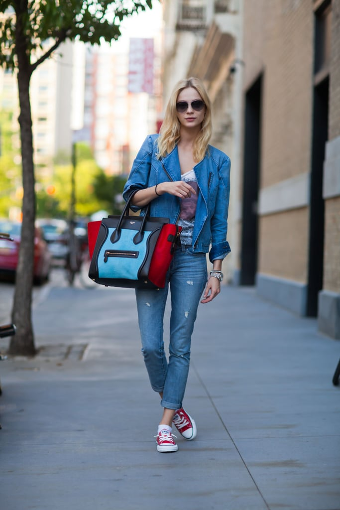 Two denim finds add up to a head-to-toe cool look — especially since one of those pieces is a denim moto jacket.  Source: Le 21ème | Adam Katz Sinding