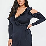Missguided Cold Shoulder Satin Dress