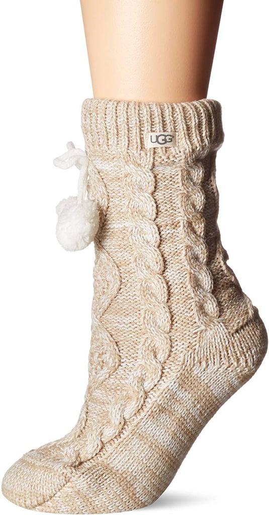 UGG Pom Fleece Lined Crew Socks
