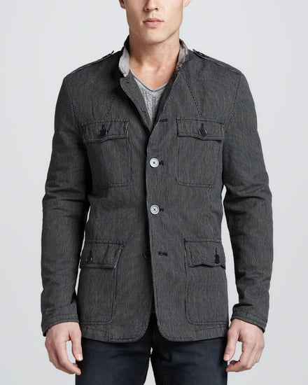John Varvatos Star USA Pinstripe Military Jacket, Midnight Blue