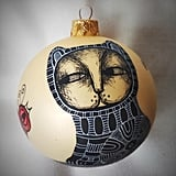 Hand-Painted Cat and Bird Ornament
