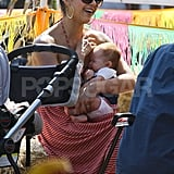 Jessica Alba smiled while holding Haven.