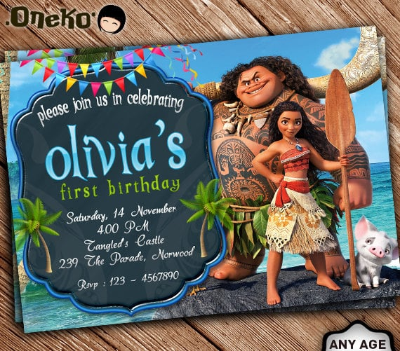 Maui and Moana Invitation Moana Birthday Party Decor POPSUGAR