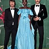 Pierpaolo Piccioli, Adut Akech, and Jon Kortajarena at The Green Carpet Fashion Awards 2019