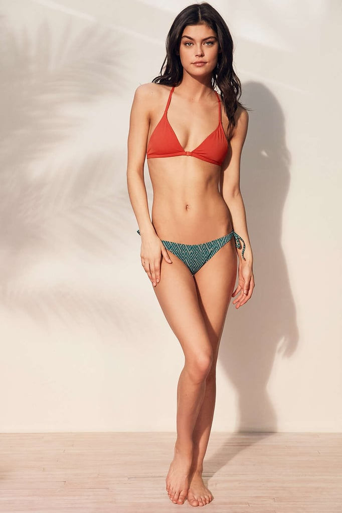 Out From Under Solid Triangle Racerback Bikini Top ($36) and Printed Tie Side Ruched Low Rise Cheeky Bottom ($38)