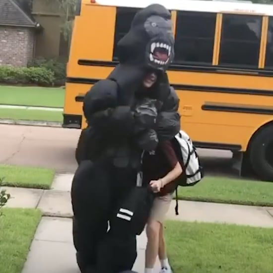 Teen Greets His Brother at the Bus in Costumes