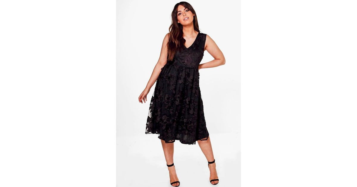 5497a0d4dc88 boohoo Plus Anne Embroidered Lace Midi Skater Dress | Christmas Party  Dresses For Under £50 | POPSUGAR Fashion UK Photo 26