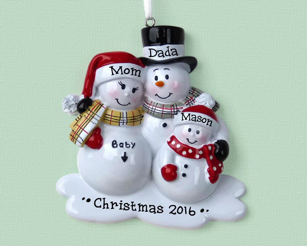 expectant family snowman ornament