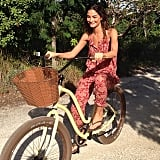 Lily Aldridge was all smiles while riding her bike in Turks and Caicos. Source: Instagram user lilyaldridge