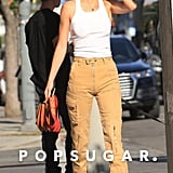 Kendall Jenner Wearing a White Tank With High-Waist Cargo Trousers in Hollywood