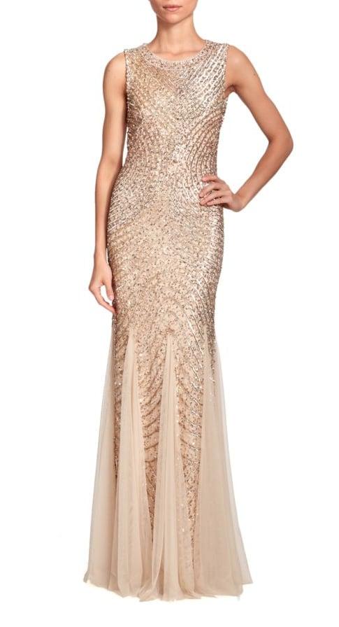 Aidan Mattox Sequined Godet Gown   Jennifer Lawrence Dior Dress at ...