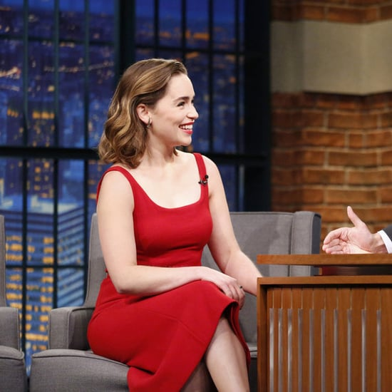 Emilia Clarke's Red Dress on Seth Meyers May 2016