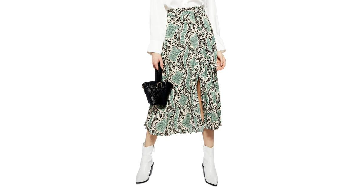 Topshop Python Print Pleat Midi Skirt | Animal Print Midi